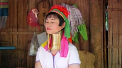Asian Ethnic Karen Tribal Woman in Long Neck Hill Tribe Village Stock Footage