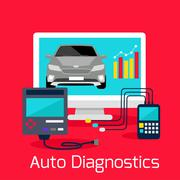 Auto Diagnostics Monitor Flat Concept - stock illustration