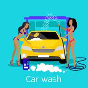 Girl Car Wash Flat Concept Icon Stock Illustration