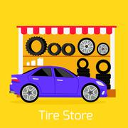 Tire Store Automobile Flat Concept Stock Illustration