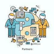 Partners Icon Flat Design Concept - stock illustration
