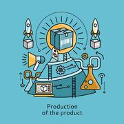 Production of Product Icon Flat Design Concept Stock Illustration