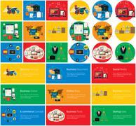 Business Online, Social Media, Delivery Concept - stock illustration
