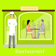 Urban Restaurant Facade with Customers - stock illustration
