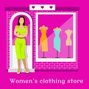 Woman Clothing Urban Store Design - stock illustration