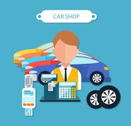 Car Shop Concept Flat Design Style - stock illustration