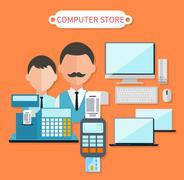Modern Computer Store Concept Flat Design - stock illustration
