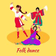Folk Dance Concept Flat Design - stock illustration