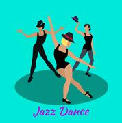 Jazz Dance Concept Flat Design - stock illustration