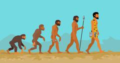 Concept of Human Evolution from Ape to Man - stock illustration