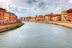 Arno river in Pisa, Tuscany, Italy. Stock Photos