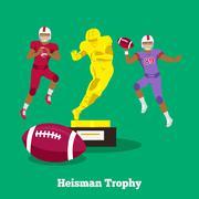 Heisman Trophy Concept Flat Design - stock illustration