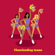 Cheerleading Team Concept Flat Design - stock illustration