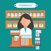 Pharmacist Concept Flat Design - stock illustration