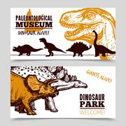 Dinosaurs museum exposition 2 banners set - stock illustration