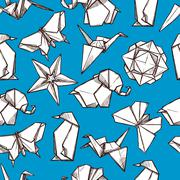 Origami paper folded figures seamless pattern - stock illustration