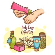 Body care cosmetics products ad poster - stock illustration