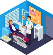 Stock Illustration of Isometric Dentist Office During Reception Patient
