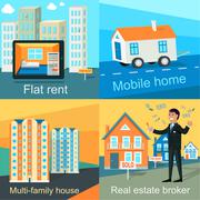 Mobile Home, Flat Rent, Multi-family House Stock Illustration