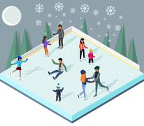 Ice Rink with People Isometric Style - stock illustration