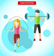 Types of Activity People Icon Flat Design Stock Illustration
