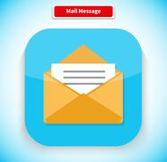 Mail Message App Icon Flat Style Design Stock Illustration