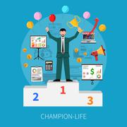Champion Life Concept - stock illustration