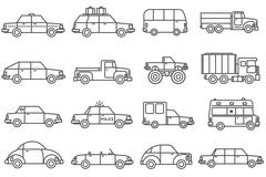 Cars Line Icons Set Stock Illustration
