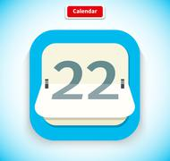 Calendar App Icon Flat Style Design - stock illustration