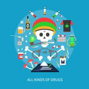All Kinds Of Drugs Concept - stock illustration