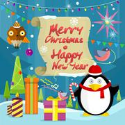 Merry Christmas and Happy New Year Banner - stock illustration