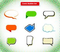 Stock Illustration of Comic Bubble Set Icon Flat Style Design
