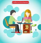 Stock Illustration of Intellectual Development Flat Design Concept