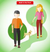 Walk in the Park with Dog Concept Stock Illustration