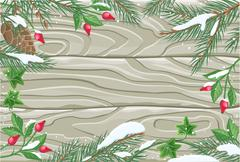 Stock Illustration of Winter frame wooden texture board