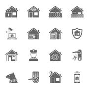 Smart home security system black icons set - stock illustration