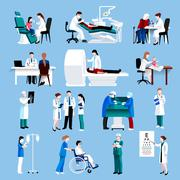 Medical care people fllat icons set - stock illustration