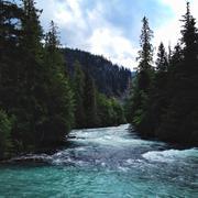 British Columbia, Lush river on sunny day Stock Photos