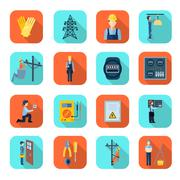 Electricity man professional flat icons collection Stock Illustration