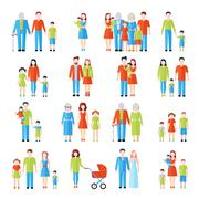 Family flat icons set - stock illustration