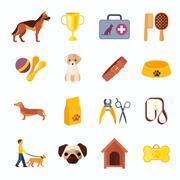 Pets dog flat icons set Piirros