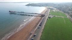 Paignton Pier Flyover. Stock Footage