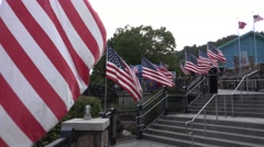 Multiple Waving American Flags - stock footage