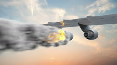 Emergency landing of a airplane with left engine on fire. - stock footage