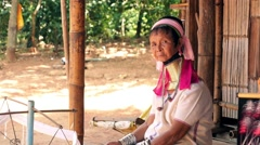 Long Neck Karen Hill Tribe People. Karen Long Neck Villages in Chiang Rai Stock Footage