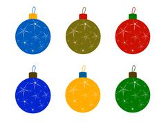 Set of Christmas Tree Colored Balls Stock Illustration