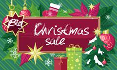 Christmas Sale Sign Design Concept - stock illustration