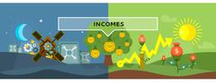Incomes Concept Design Style Flat - stock illustration