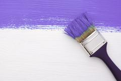 Stripe of purple paint with a paintbrush on white Stock Photos