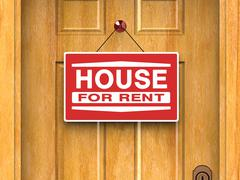 House for rent sign on door, real estate, advertisement Stock Illustration